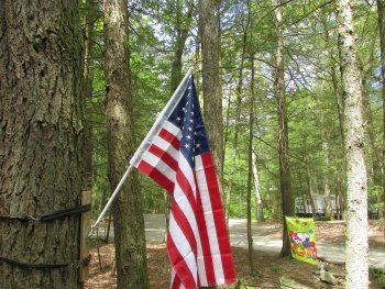 flag flying for the fourth of July at Rip Van Winkle Campgrounds in the catskills