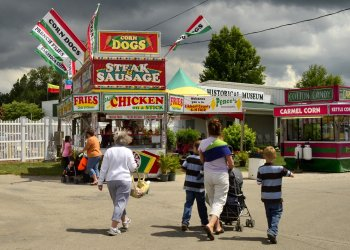 people walking at Ulster County Fair in Ulster, NY