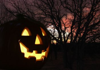 Jack-o-lantern lit up with a tree in the background at night