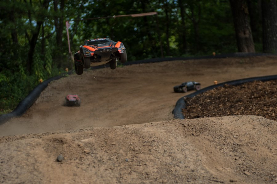 RC car flying high at RIP Van Winkle Campground RC Race Track in Saugerties NY