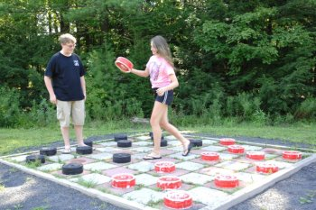 Giant Checkers Game at Rip Van Winkle Campgrounds in Saugerties, NY
