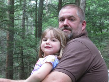 Member of Rip Van Winkle Campground holding his daughter in honor of Father's Day