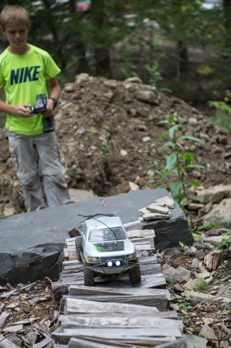 RC monster truck ripping through the trails at RIP Van Winkle Campground RC Race Track in Saugerties NY