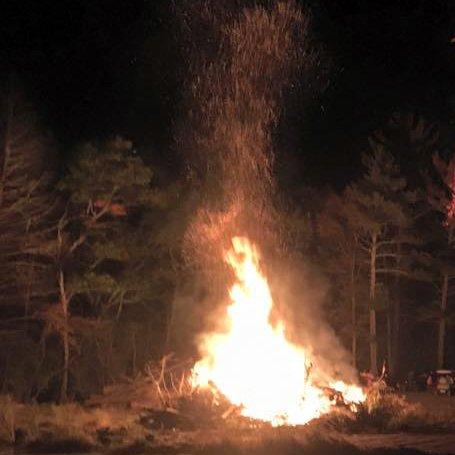 Large fire pit burning