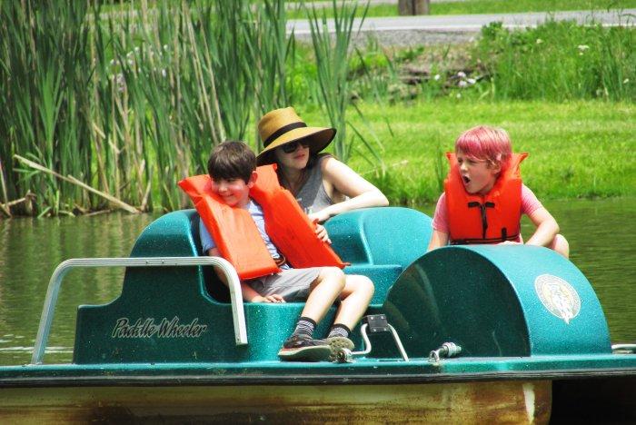 Kids on a paddleboat