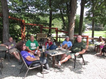 Group of people camping at Rip Van Winkle Campground in the Catskills