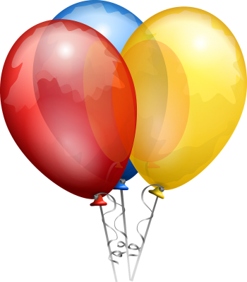 Three balloons (red, blue, and yellow)