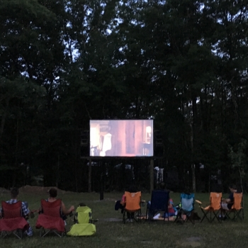 Outdoor Movie Screen at Rip Van Winkle Campgrounds in Saugerties, NY